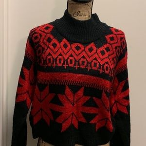 Women's red and black graphic trendy sweater